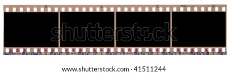 blank negative roll, 4 frames. - stock photo
