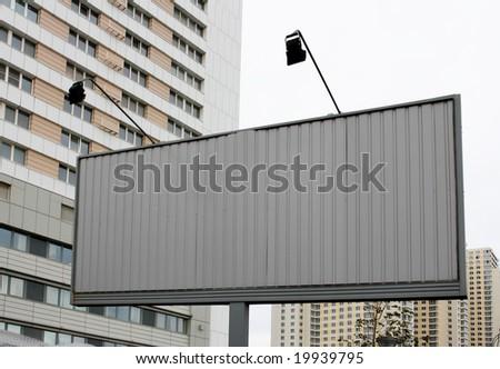 Blank new billboard on street - stock photo