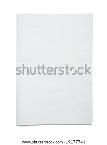 Blank newspaper frontpage isolated on white background, authentic newspaper material - insert your own design - stock photo