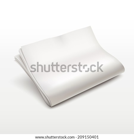 blank newspaper isolated over white background - stock photo
