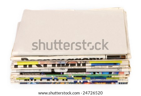 Blank newspaper on a pile of other newspapers - stock photo