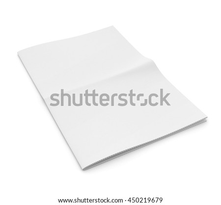 Blank newspaper on white background. Template for publishing house. 3d illustration - stock photo