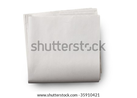 Blank newspaper on white with soft shadow. Add your own text. - stock photo