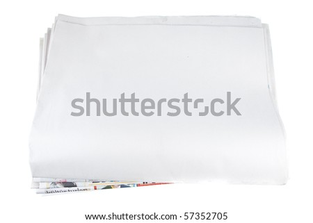 blank newspaper paper on isolated white backgound - stock photo
