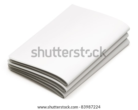 Blank newspapers on white background - stock photo