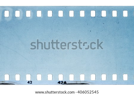 Blank noisy scratched filmstrip isolated on white background