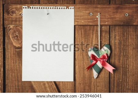 Blank Note And Heart On Clothesline - stock photo