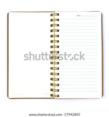 Blank note book or diary isolated on white background