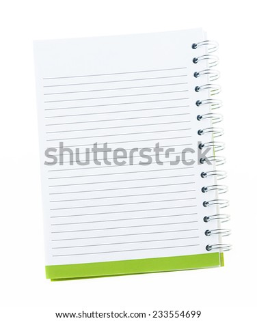 Blank note book with ring binder holes isolated on white - stock photo