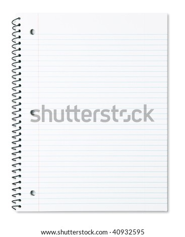 Blank note book with three ring binder holes isolated on white. - stock photo