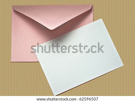 Blank Note Card and Envelope - stock photo