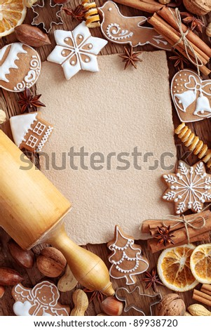 Blank note  for recipes of christmas cakes - stock photo