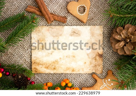 Blank note for recipes of Christmas cakes with free text space - stock photo