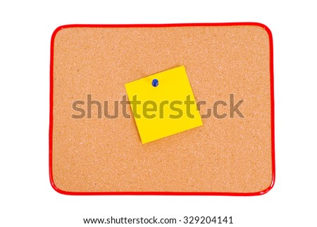 Blank Note In Center Of Bulletin Board/ Blank Yellow Note Tacked To Bulletin Board - stock photo