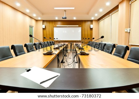 Blank note in the Meeting room - stock photo
