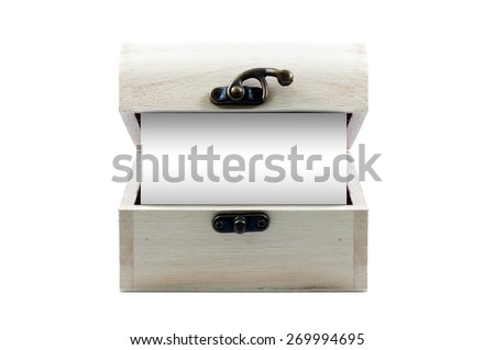 Blank note in wooden chest isolated on white background - stock photo