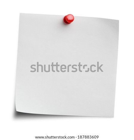 Blank note isolated on white background with clipping path - stock photo