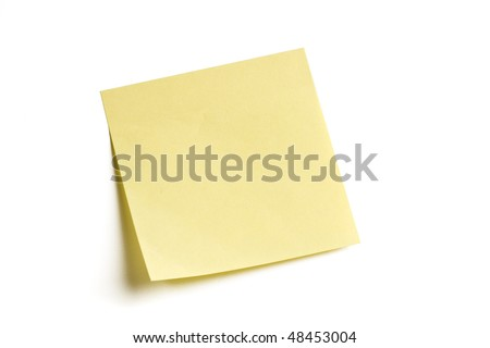 Blank note isolated on white background with soft shadow. - stock photo