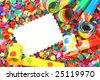 Blank note on colorful confetti - stock photo
