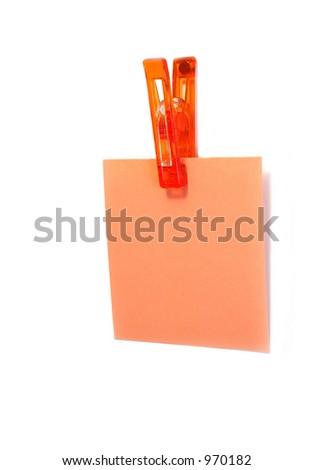 Blank note on fridge - stock photo
