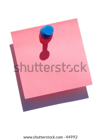 Blank note on white background