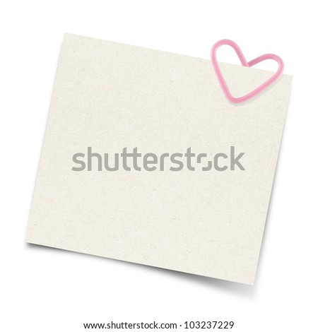 Blank note paper and heart paper-clip - stock photo