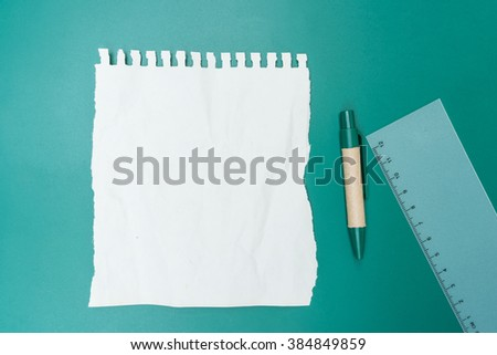 Blank note paper crumpled and green background - stock photo