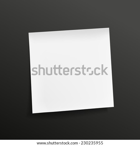 blank note paper isolated on black background