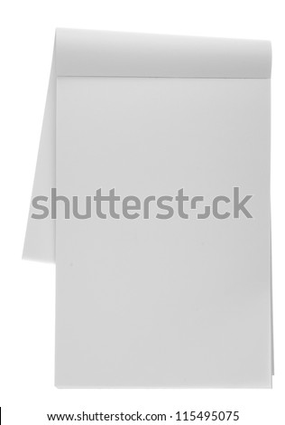 Blank note paper isolated on white.