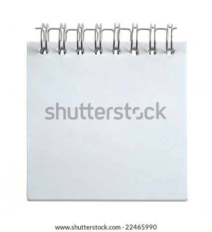 blank note paper isolated on white background