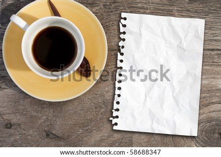 blank note paper on coffee table - stock photo