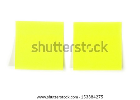 Blank note, paper sticks isolated on white background with soft shadow.