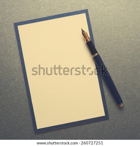 Blank note paper wiih pen  - stock photo