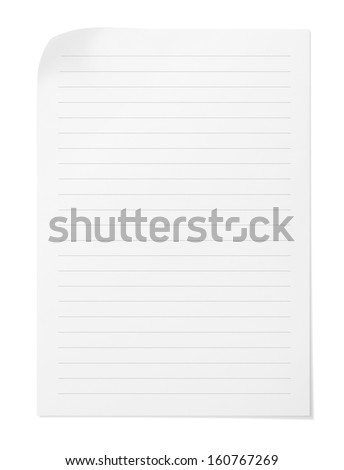 Blank note paper with lines on white background - stock photo