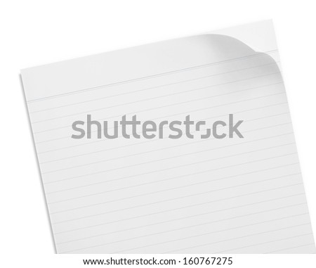 Blank note paper with lines on white background