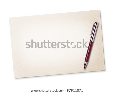 Blank note paper with pen - stock photo