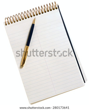Blank note paper with pen. Object on white