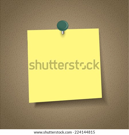 blank note paper with pin isolated on corkboard - stock photo