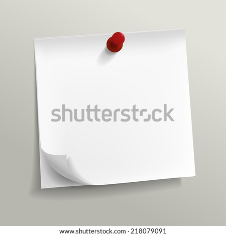 blank note paper with pin on grey background - stock photo