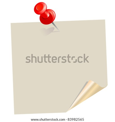 Blank note paper with pin. Raster version. - stock photo