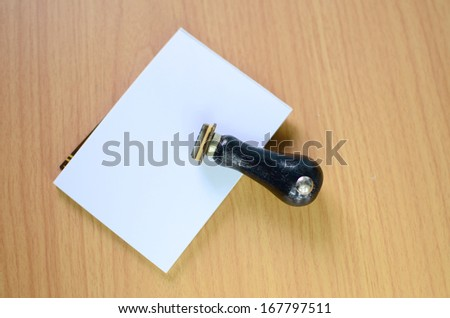 Blank note paper with rubber stamp