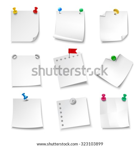 Blank note papers pinned with pushpins realistic set isolated  illustration