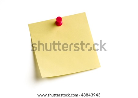 Blank note pinned on white board with soft shadow. - stock photo