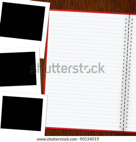 Blank notebook and photo on old wood background - stock photo