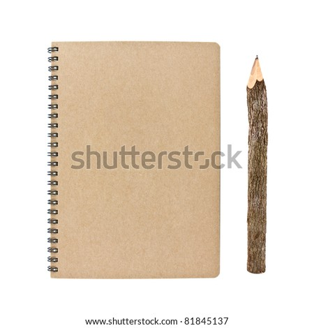 blank notebook and wooden pencil isolated on white background, conservation concept - stock photo