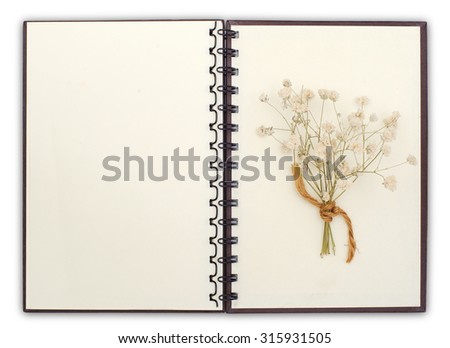 blank Notebook compose with flower with clipping path - stock photo