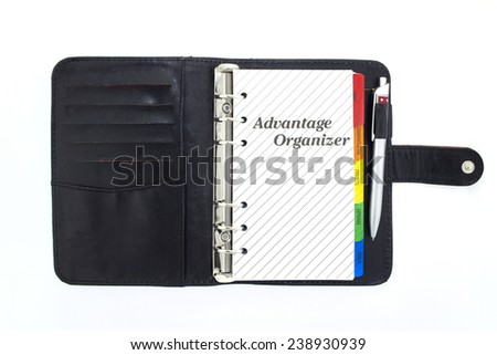 Blank notebook, copybook, personal organizer on white. - stock photo
