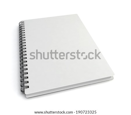 Blank notebook. 3d illustration isolated on white background  - stock photo