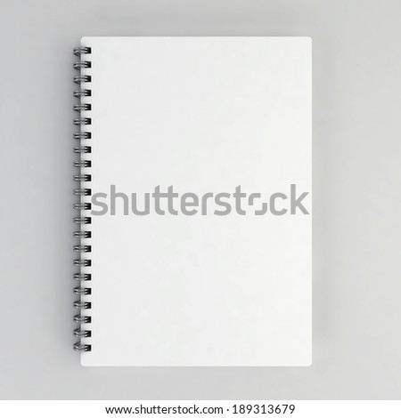 Blank notebook. 3d illustration on gray background  - stock photo
