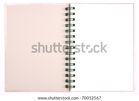 blank notebook first page & white paper for take notes